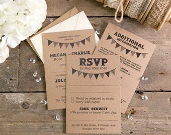 Bunting Wedding Invitation, RSVP & Additional Information Set A6 Postcards + Envelopes - Set of 25