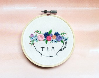 Floral Teacup Embroidery Art