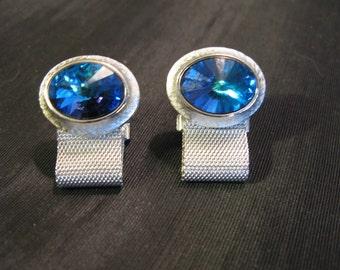 Crystal Cufflinks, Vintage Cuff Links, Silver Mesh Blue
