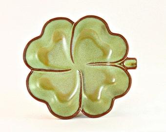 Frankoma Candy Dish, Frankoma Number 223 6 Inch Clover, Frankoma Prairie Green Ashtray, Frankoma Prairie Green Clover Shaped Candy Dish