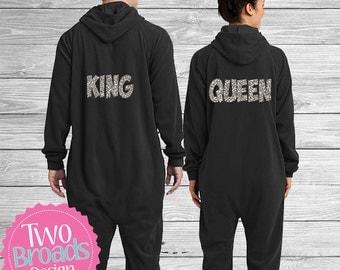 King and Queen Pj's, Bride and Groom Pajamas, Footie Pajamas, Pjs, Husband and Wife Pajamas