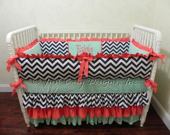 Custom Baby Crib Bedding Set Blakely -  Girl Baby Bedding, Coral and Mint Baby Bedding, Navy Baby Bedding