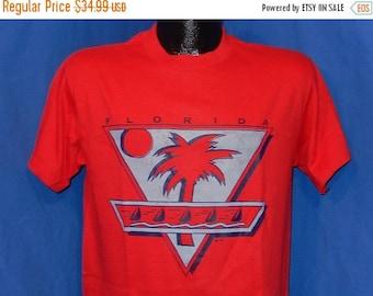 July XMAS SALE 80s Florida Palm Trees & Sail Boats Red Vintage t-shirt Medium
