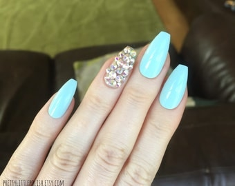 Pastel blue swarovski crystal coffin nails, Swarovski crystal nails, Swarovski nails, Nail designs, Nail art, Nails, Stiletto nails