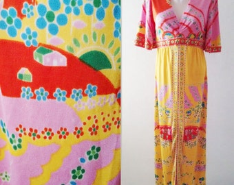 Vintage 70's Paganne dress,Paganne maxi dress, Hills houses Print,Floral dress,colorful Mod Paganne dress,Free Shipping