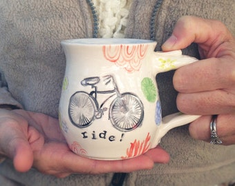 Bike Mug Ceramic Handmade