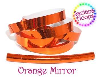 Orange Mirror Taped Performance Hula Hoop Polypro or HDPE