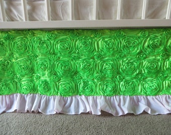 Lime Green Rosette with Light Pink Ruffle Crib Skirt