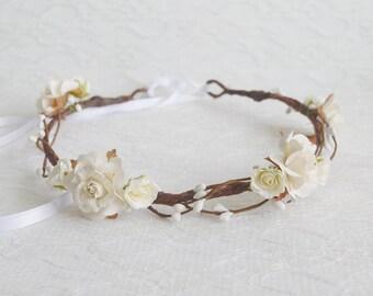 Ivory Rose Flower Crown, woodland floral crown, bridal headpiece, bridal hair accessories, wedding hair accessories, bridal crown - AURORA