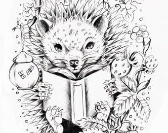Hedgehog black work art print