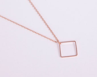Rose Gold Plated Necklace Disc Rosegold Square Box Rosegolden Necklace Diamond Rhombus