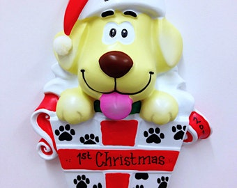 FREE SHIPPING Yellow Dog Christmas Ornament / New Puppy Ornament / Pet Christmas Ornament