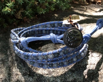 4 Wrap Blue Quartz Leather Bracelet