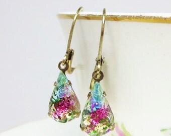 Iris Glass Sugar Stones Rhinestone Earrings Rainbow Pink Blue Green