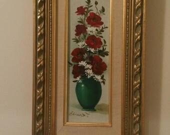 Vintage oil painting- red roses in jade vase