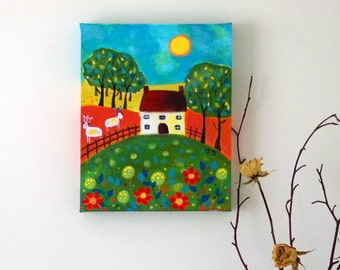 Naive Landscape, Devon Cottage, Turquoise Flowers, Nature Painting, Countryside Artwork, Sheep Painting, Music Artwork, Traditional Art