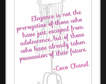 """Coco Chanel """"Elegance"""" Quote Print, A3/A4/A5/5 x 7/8 x 10/11 x 14 Print, Ideal Gift for Fashionistas"""