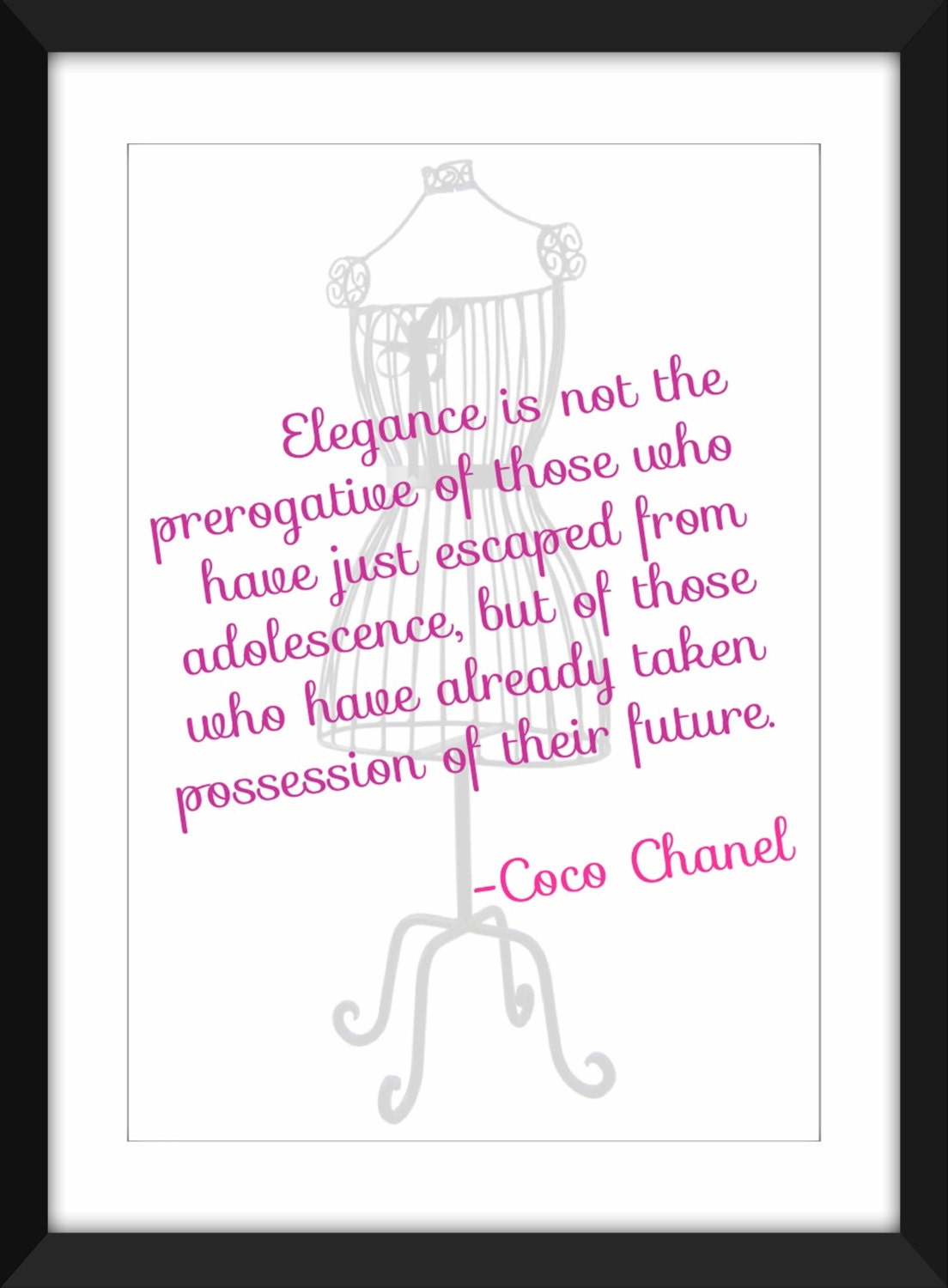 Coco Chanel Elegance Quote Unframed Print