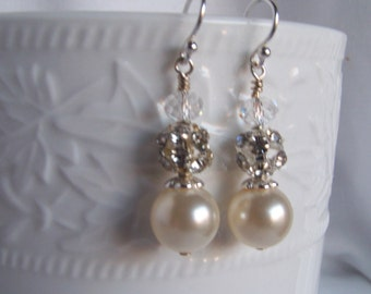 Romantic Pearl Earrings - Pearl Crystal Sparkle Earrings - Bridal Shop - Summer Weddings - Gifts for Moms - Prom Earrings - Bridal Earrings