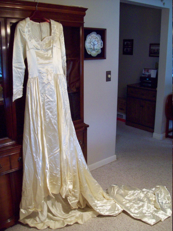 Vintage 1950 s Ivory Satin Wedding Gown by BridalDesignsByJo