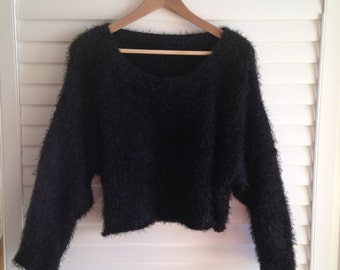 VINTAGE 1990s 90s CROPPED black fuzzy sweater club kid grunge
