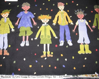 Fabric, Blackwork by Carol Roeda, Four Corners Design, Cotton, Child, sewing supplies
