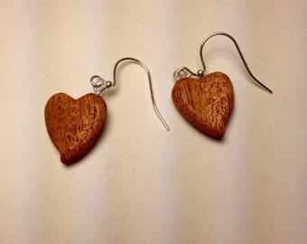 Mahogany Heart Shaped Earrings