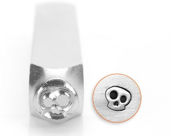 Whimsical skull design metal stamp , 6 mm skull stamp, ImpressArt