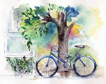 Bicycle Painting, Print of the Bicycle Watercolor by MarilynKJonas, Bike, Biking, Bikers, Summer Celebrations