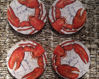 Red Lobster coasters  coastal beach home decor barware summer entertaining outdoors