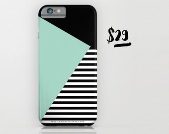 Mint Triangle and Black Stripes Phone Case