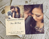 """Wedding Save The Date Magnets - HarvestBarn Vintage Photo Personalized 4.25""""x5.5"""""""