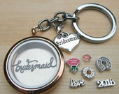 On Sale Bridesmaid Wedding Party Personalised Living Memory Floating Glass locket Engraved Charms Keyring necklace magnetic Keepsake