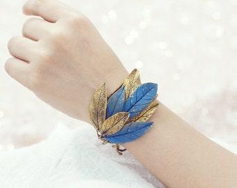 gold leaf cuff, gold leaf bracelet ,handmade by clay