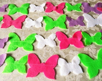 Hot Pink, Lime Green, Purple, and White Felt Butterfly Garland