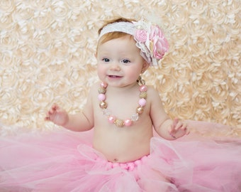 Pink Champagne Over the Top headband, pink and gold headband, couture headband, over the top bow, baby headband, flower headband, ott bow