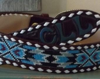 Mens or Ladies western leather inset beaded belt.
