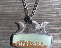 Desert Dreamer Moon Phase Picture Jasper and sterling Silver pendant. Chain not included. Free Shipping in US.