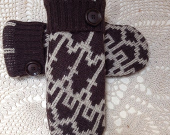 Brown Wool mittens-Upcycled-recycled felted wool mittens with a brown and tan pattern-made from sweaters