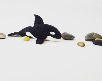 Needle felted orca whale