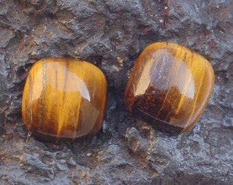 10 Pieces Natural Lot Golden Tiger Eye Cushion Shape Gemstone Loose Cabochon