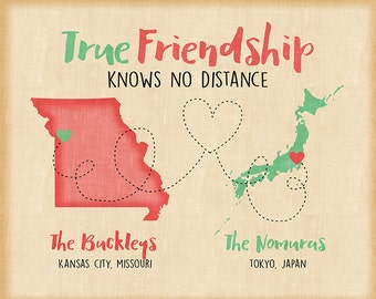 True Friendship Maps, Custom Long Distance Gift for Friends Moving, Farewell, Goodbye Gifts, US, Japan, Asia, Job Overseas, Military | WF241