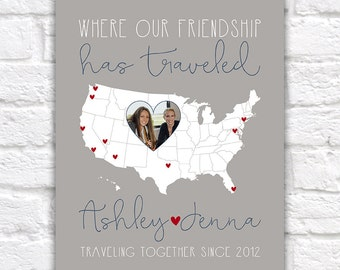Friends Who Travel Together, Custom Map with Locations Traveled with Best Friend, Friends Photo Gift, Map Decor, Gray, Sisters | WF225