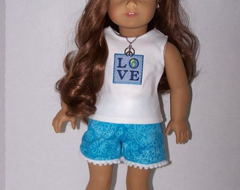 """Upcycled Earth Day """"LOVE"""" Tank Top, Shorts, Peace Necklace and Barrette - Fits 18 inch dolls"""