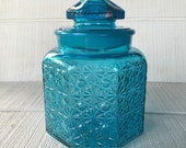 """vintage 8.5"""" blue glass canister, vintage LE Smith daisy buttons colonial blue canister jars, blue glass apothecary jars, kitchen storage"""
