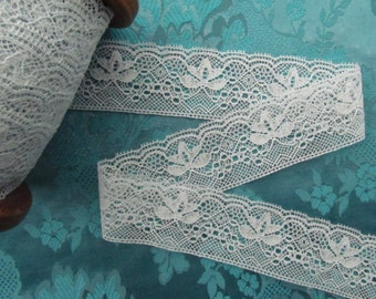 A beautiful light blue scalloped vintage lace
