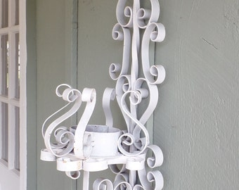 Large Wrought Iron Scrolled Candleholder- Rusty, Chippy White Paint