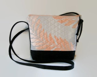 Quilted Pastel Fabric and Black Denim Crossbody Bag, Grey Peach Black Hipster Shoulder Bag, Spring Summer Small Purse, Gift For Her