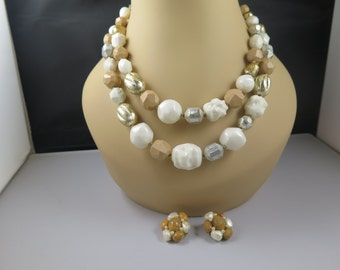 Hattie Carnegie Two Strand Necklace and Earrings