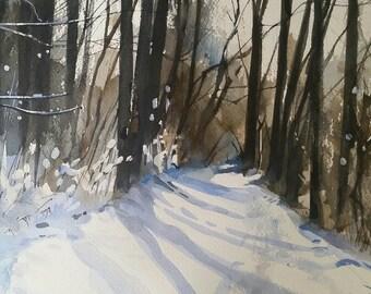 Winter landscape, original watercolor, watercolor landscape, 8 x 10 Watercolor.